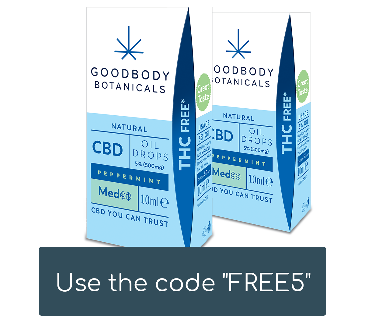 Two Medium strength peppermint flavour Goodbody CBD oil boxes