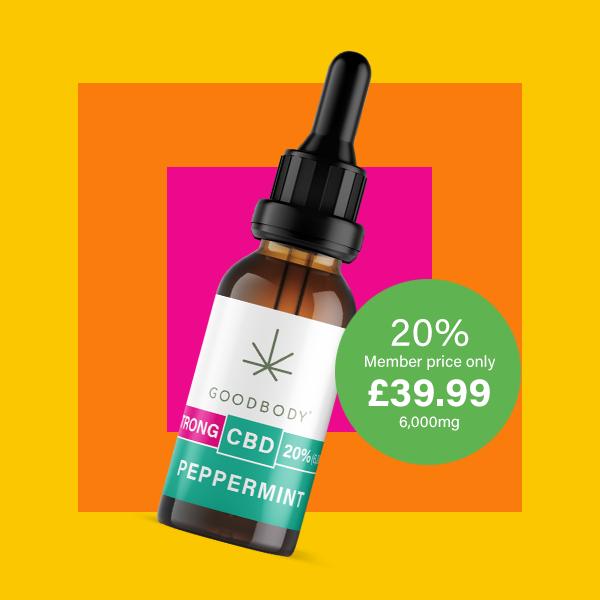 cbd 20% peppermint oil in goodbody bottle